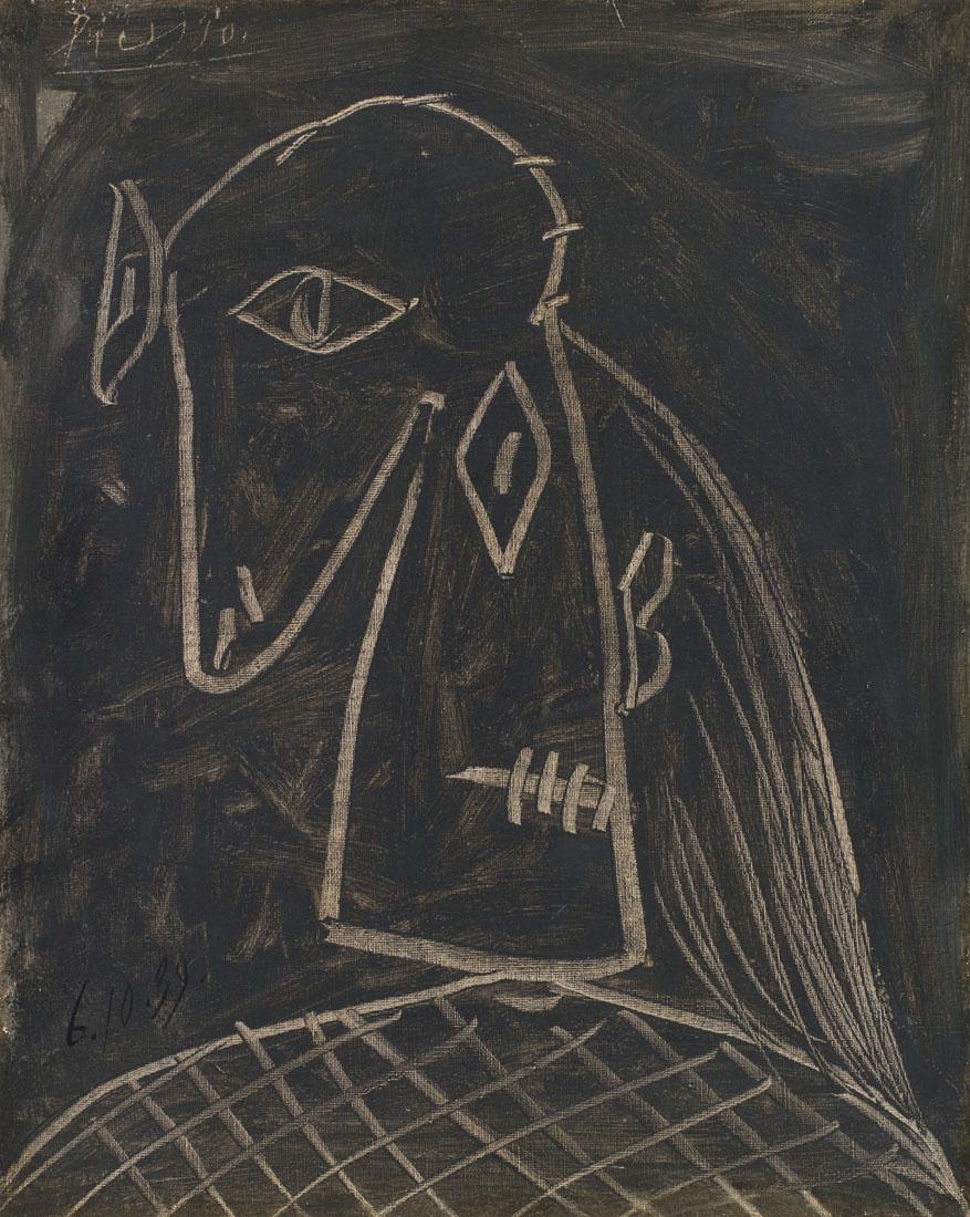 Tête de femme, 1939, Pablo Picasso, huile sur toile, 41cm sur 33cm. Estimée entre 1,2million et 1,6million.