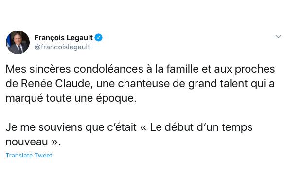 François Legault a offert ses condoléances aux proches de Renée Claude, «une chanteuse de grand talent qui a marqué toute une époque».