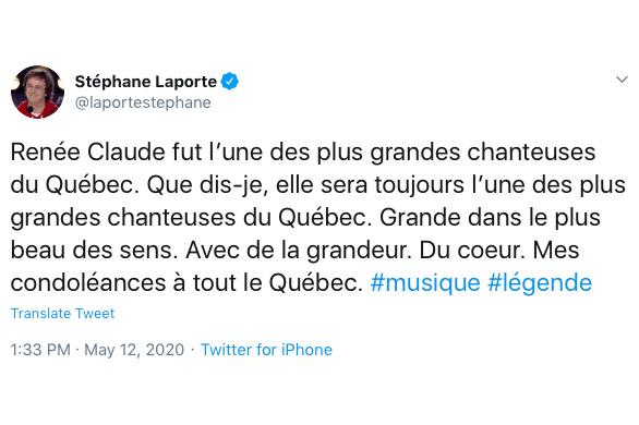 Le chroniqueur et producteur Stéphane Laporte a souhaité ses condoléances à tout le Québec et souligné la «grandeur du cœur» de Renée Claude.