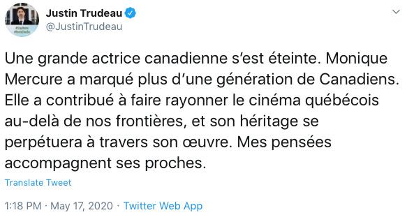 «Une grande actrice canadienne s'éteint», a tweeté le premier ministre du Canada, Justin Trudeau (en français et en anglais). Il a mentionné qu'elle avait fait rayonner le cinéma québécois hors de nos frontières.