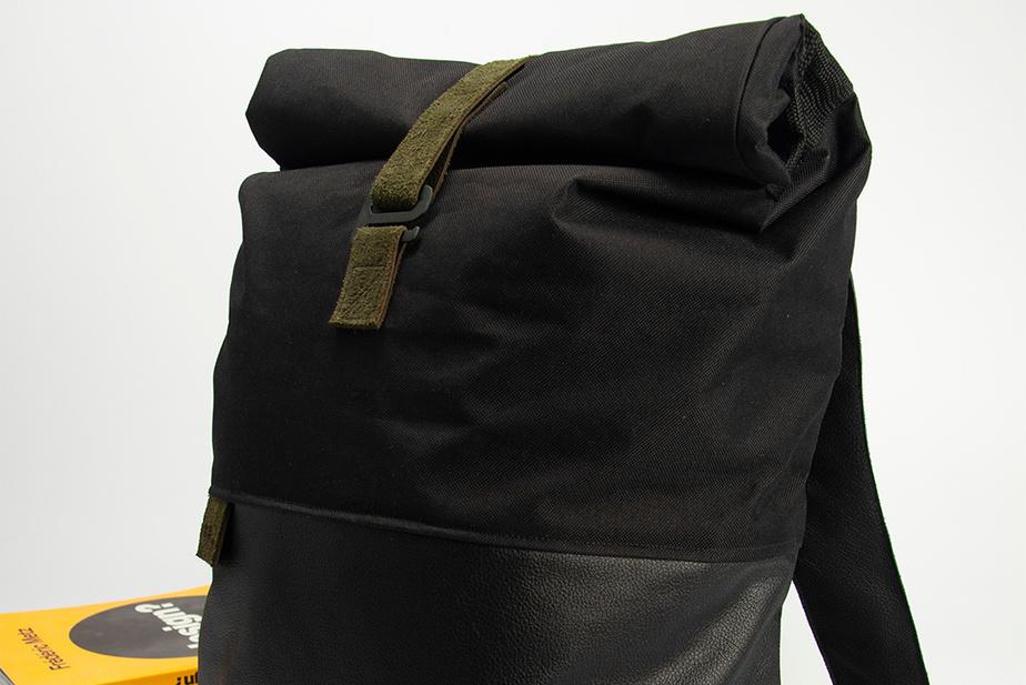 Manana, un sac à dos écologique en cuir et tissus recyclés, créé par Laurence Gaudy et Renaud Guy-Plourde (190$).