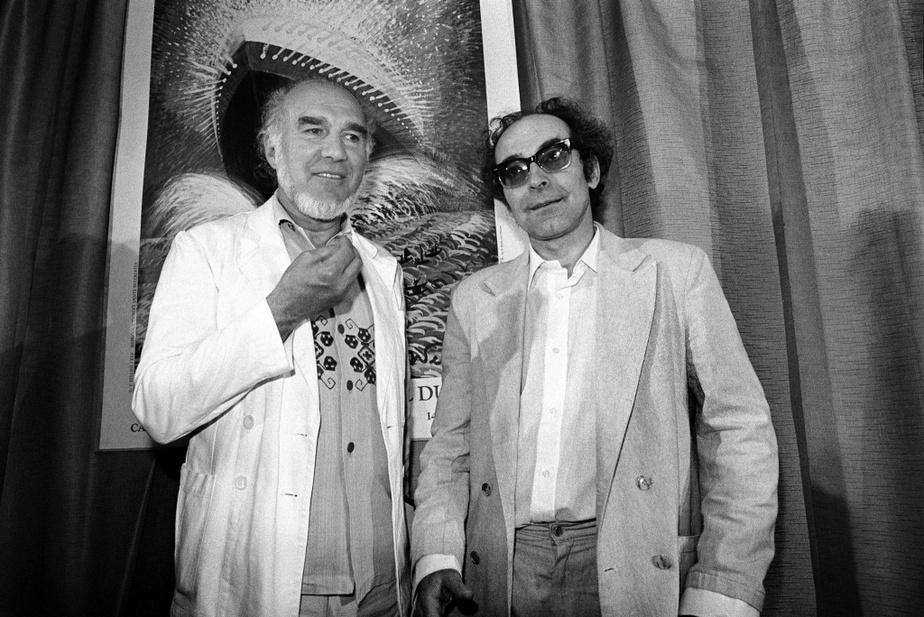 Michel Piccoliet Jean-Luc Godard avant la projection du film Passion au Festival de Cannes en mai1982