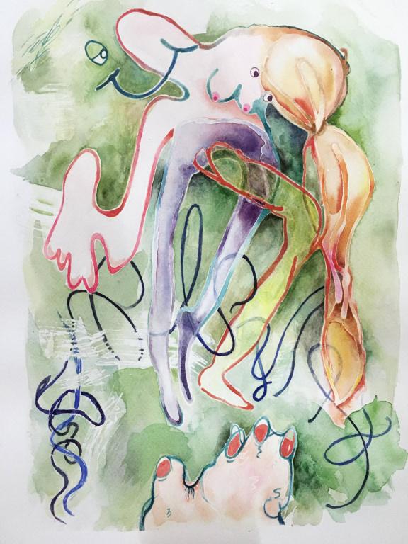 Free ride, 2020, Beth Frey, aquarelle sur papier, 12po x 16po
