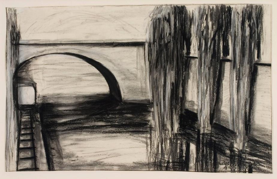 Three Graces, 1984,Medrie MacPhee, fusain etpastel surpapier, 78cm x 122,5cm. Don deMmeMimi Fullerton etde M.Myer D. Brody. Collection du Musée d'art contemporain de Montréal