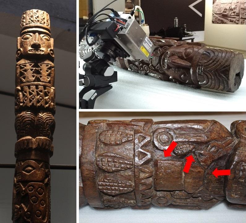 Statue du dieu Pachacamac: de quoi sont faites les traces rouges sur cette statue du dieu Pachacamac?