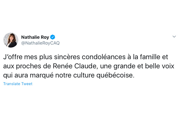 La ministre de la Culture et des Communications, Nathalie Roy, a parlé d'une «grande et belle voix qui aura marqué notre culture».