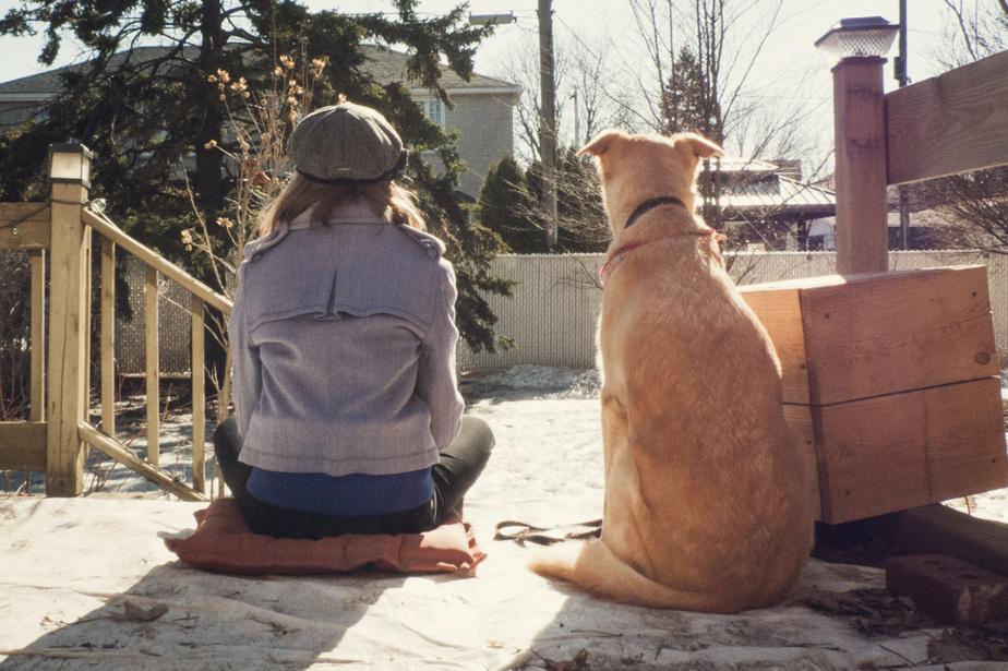 «Ça représente mon chien et moi qui attendons le changement, indique Justine. On attendait le printemps et finalement, le printemps est arrivé! On profitait du temps qu'on avait.»