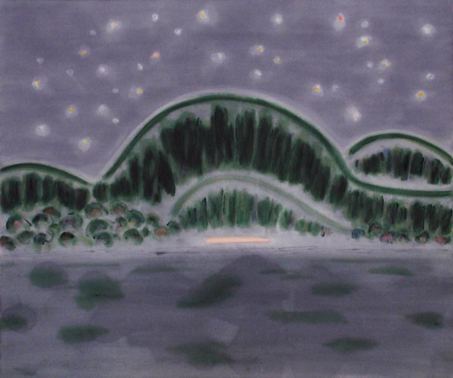 Arctic Night, 1984,Kathleen Margaret Graham, acrylique surtoile, 127,1cm x 152,3cm. Collection Lavalin du Musée d'art contemporain de Montréal.