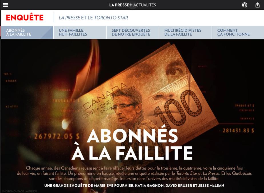 Marie-EveFournier, KatiaGagnon et StéphanieGrammond sont finalistes dans la catégorie Affaires et économie pour «Abonnés à la faillite».