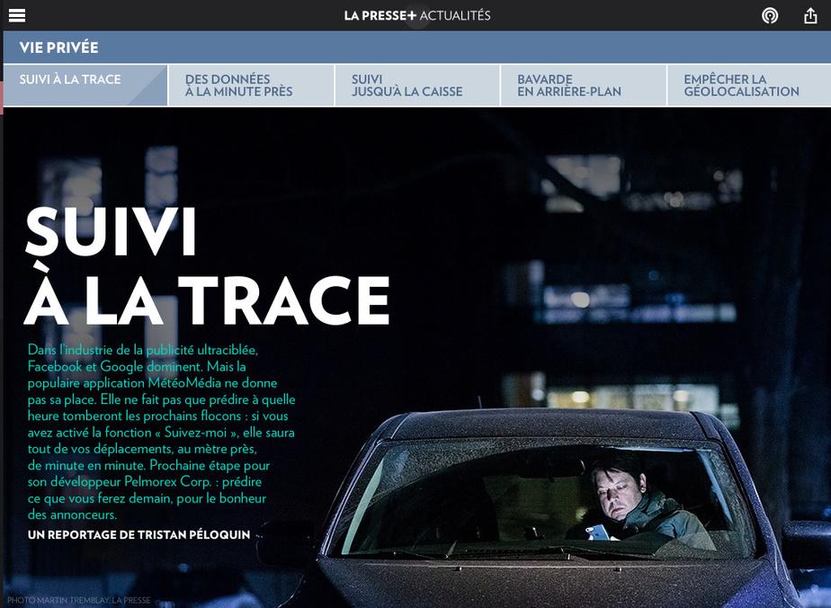 TristanPéloquin est finaliste dans la catégorie Affaires et économie pour «Suivi à la trace».