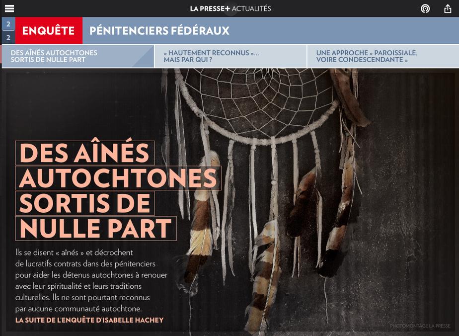 IsabelleHachey est finaliste dans la catégorie Enquête pour«Des autochtones autoproclamés plein les prisons» et «Des aînés autochtones sortis de nulle part».