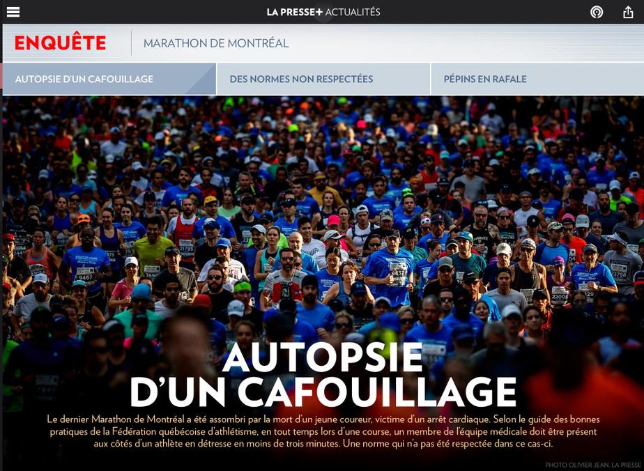 ArianeLacoursière et DanielRenaud sont finalistes dans la catégorie Sports pour «Marathon de Montréal : autopsie d'un cafouillage».