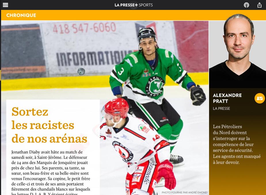 AlexandrePratt est finaliste dans la catégorie Sports pour «Sortezles racistes de nos arénas».