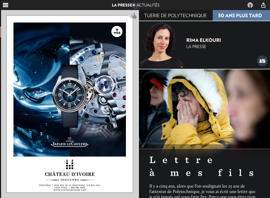 Rima Elkouri est finaliste dans la catégorie Opinion pour «Lettre à mes fils».