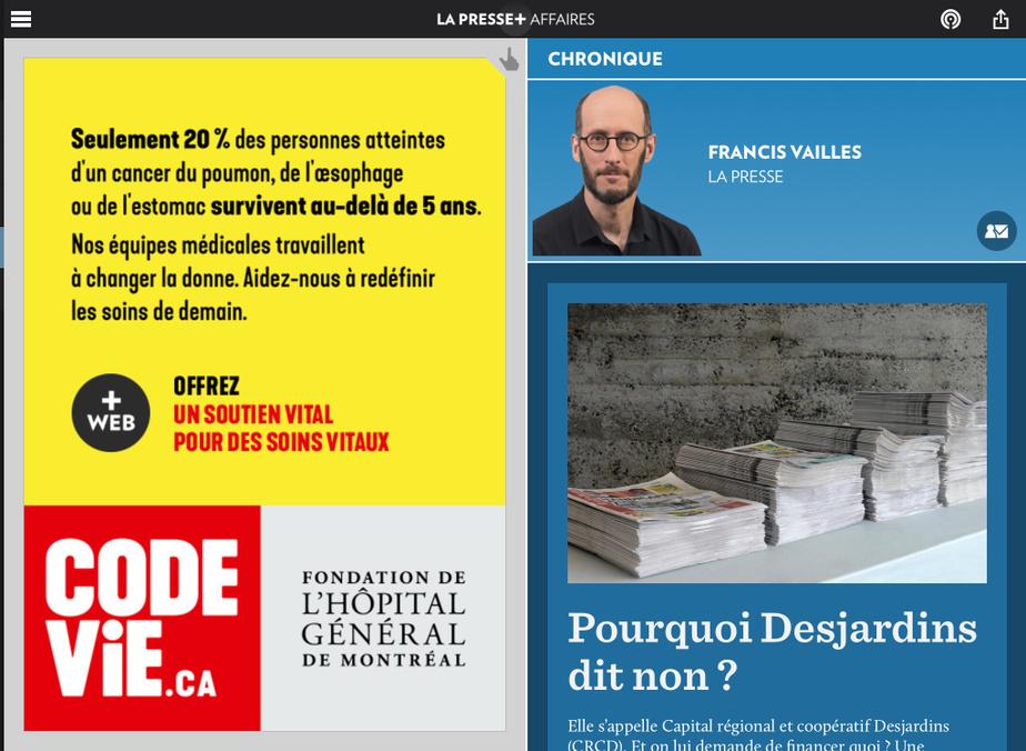 FrancisVailles est finaliste dans la catégorie Opinion pour«Pourquoi Desjardins dit non?».
