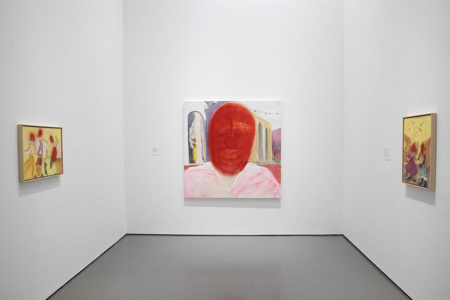 Plusieurs œuvres de l'artiste Curtis Talwst Santaigo, avec au centre Ooo Dey Ooo Dey, acrylique, fusain et pastel sur toile de 2019