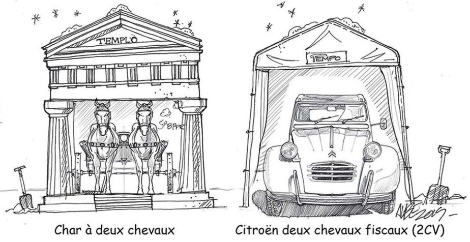 En bonus: un détail de la carte de vœux humoristique que Martin Aubé a envoyée à ses clients et amis en décembre2019, retraçant les lointaines origines de l'abri d'auto hivernal.