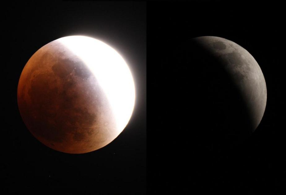 Des images d'une éclipse de Lune captées parRobert Saint-Jean en 2017. Elles ont été prises avec un boîtier Canon RebelT5i monté sur une lunetteTMB130ss.