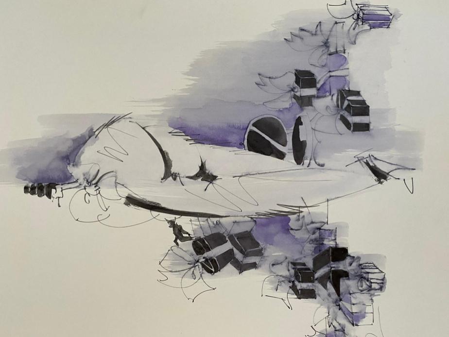 Illustration de mode réalisée par Denis Desro pour la boutique Lily Simon dans les années80