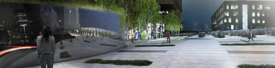 Entrée avenue de l'Hôtel-de-Ville: l'entrée de la place par l'avenue de l'Hôtel-de-Ville donnera sur une grande esplanade pouvant accueillir des fêtes ou rassemblements publics