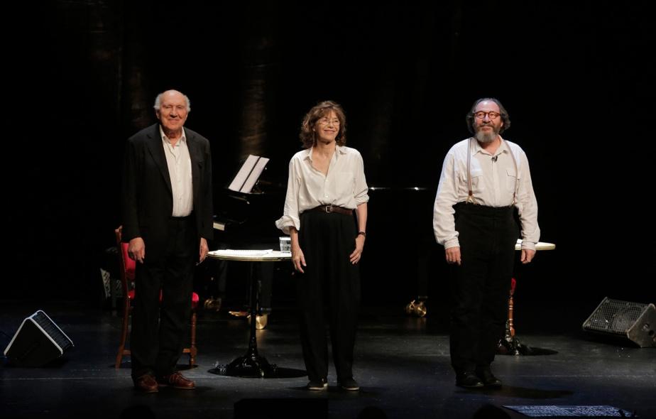 Michel Piccoli,Jane Birkin et Hervé Pierre dans Gainsbourg, poète majeurau théâtre de l'Odéon ennovembre2014