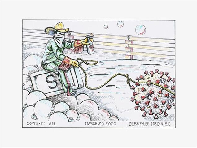 L'artiste de Calgary Debbie Lee Miszaniec a créé une série de dessins avec le coronavirus pour thème.
