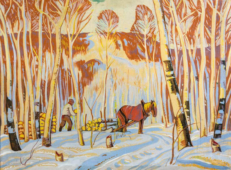 March in the Birch Woods, Alexander Young Jackson, détrempe sur panneau, 73,7 cm x 99 cm, vendue 33000$