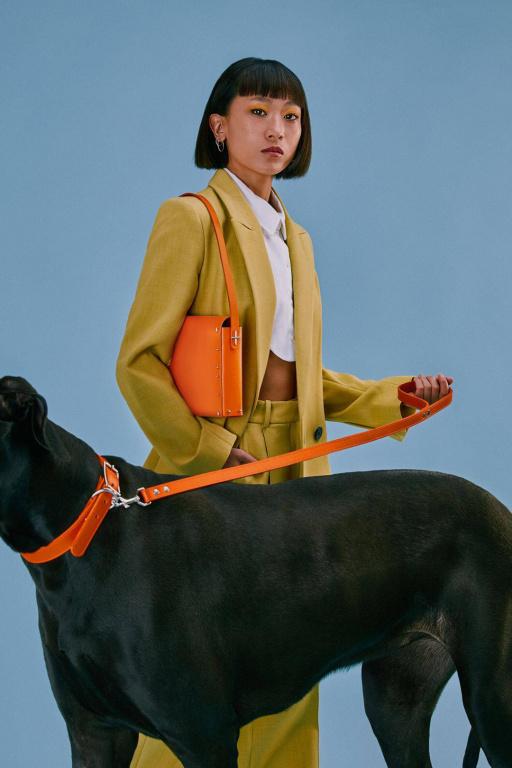Les colliers et laisses sont fabriqués dans les mêmes coloris et matériau que la collection de sacs à main en cuir naturel de tannage végétal importé d'Italie.