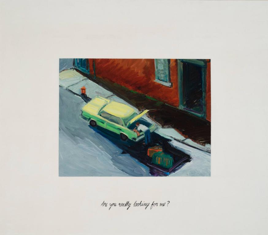 Are You Really Looking For Me? #6, 1985,Susan G. Scott, huile sur toile, 142,2cm x 162,5cm. Collection Lavalin duMusée d'art contemporain de Montréal.