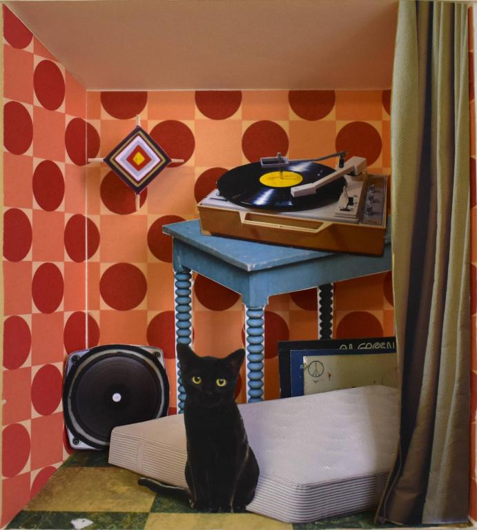Al Green with Black Cat, 2019, David Elliott, collage avec papier imprimé, carton, carton mousse, bois et acrylique, 20 cm x 18 cm.