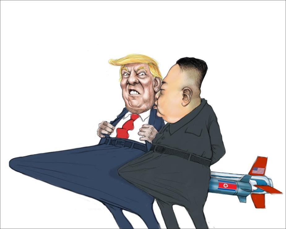 Donald Trump et KimJong-un, LaPresse, 11avril2017, SergeChapleau. © Musée McCord