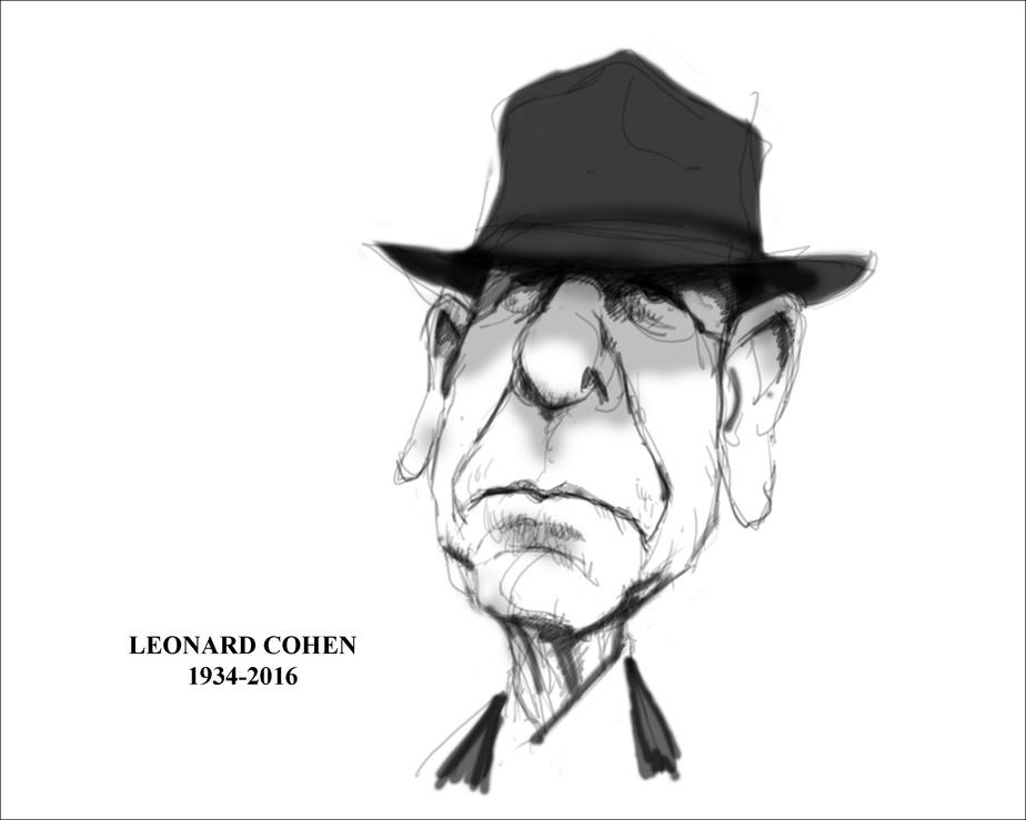 Leonard Cohen (1934-2016), LaPresse, 12novembre2016, SergeChapleau. © Musée McCord