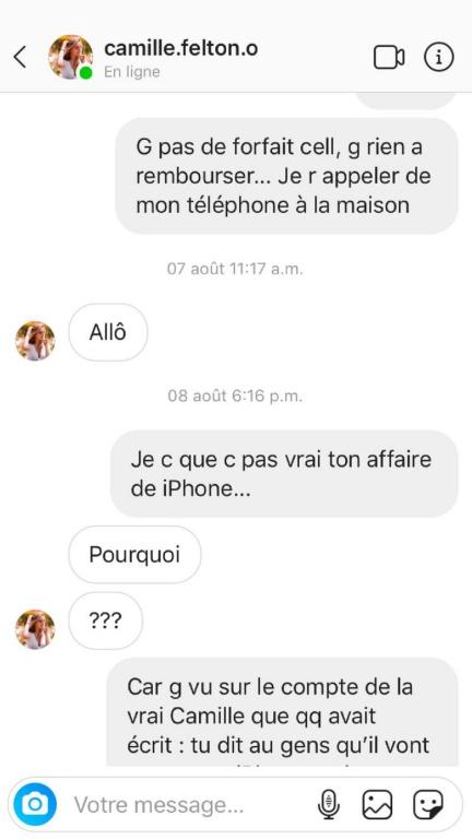 Extrait de l'échange de messages entre Éliane et la fausse CamilleFelton