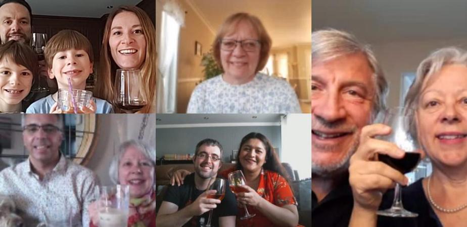 5 à 7«pimpé»: Dans la famille de Jocelyne Verrette (en bas à gauche), on fait désormais des 5 à 7 virtuels avecWhatsApp. Mais pas que pour se parler. En plus de se donner des nouvelles et de s'échanger les dernières blagues du jour, la famille a joué à ABC-trouver (pour impliquer les enfants) et se promet même de tenter sous peu le karaoké!
