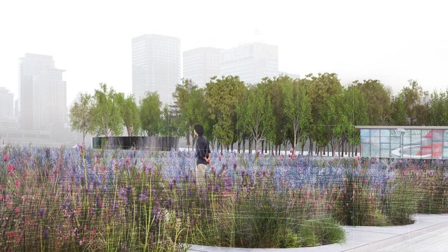Le Champ Fleuri-place des Montréalaises: le Pré fleuri, composé de 21espèces de plantes et de fleurs, est l'élément central de ce vaste espace commémoratif dédié à la mémoire des femmes qui ont bâti la métropole du Québec.