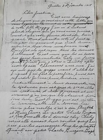 Une lectrice, Chantal Gagnon, a fait parvenir à notre chroniqueur une lettre que sa famille conserve depuis près d'un siècle.