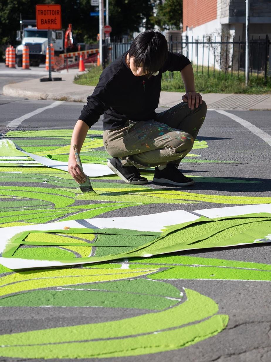 Projet de Roadsworth avec MU dans Montréal-Nord, l'an dernier