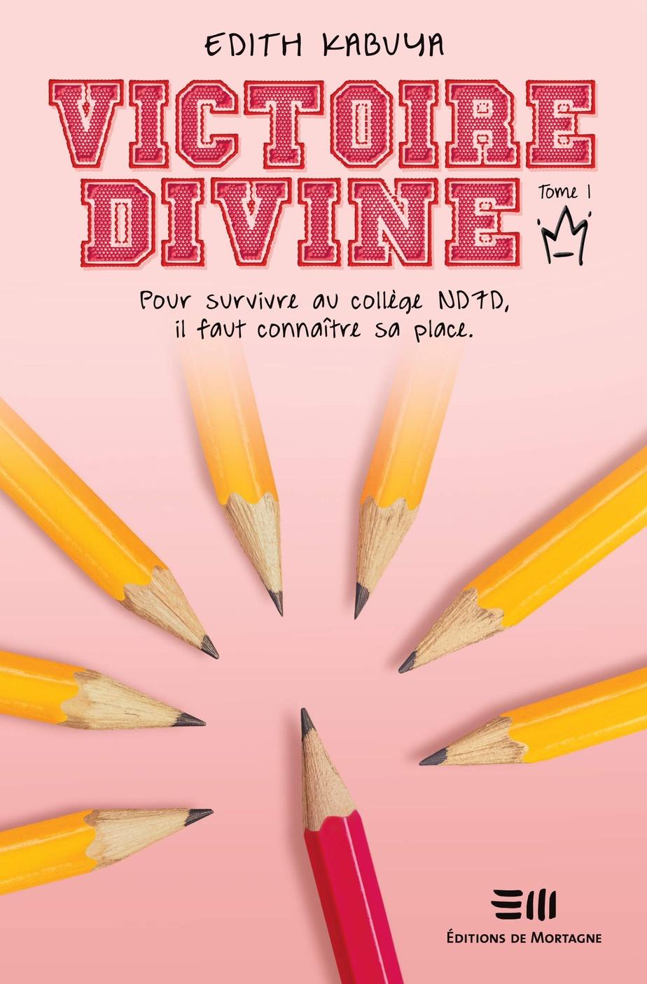 Publiés au Québec aux éditions De Mortagne, les trois tomes de la série Victoire-Divine ont des couvertures neutres, ornées de crayons, de ballons et de poissons.
