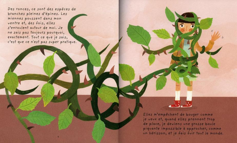 Extrait deSimone sous les ronces, texte de Maude Nepveu-Villeneuve, illustrations de Sandra Dumais, éditions FonFon.