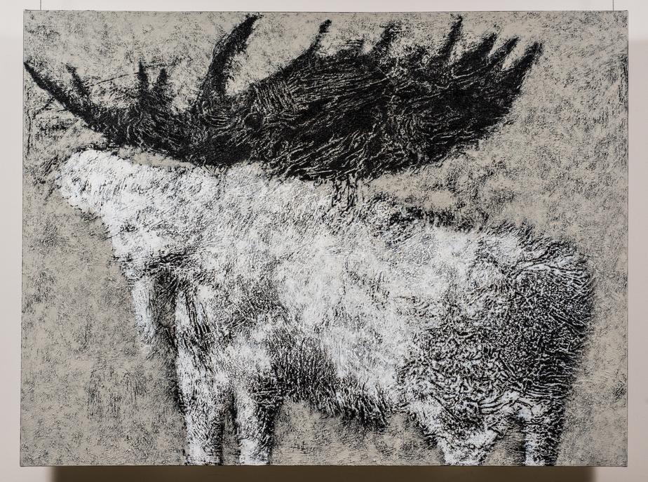 Panache, 2014, Lyne Bastien, acrylique sur toile, 92cm x 122cm.