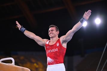 Gymnastique artistique René Cournoyer au Japon, prise2