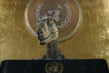 Assemblée générale de l'ONU Un dinosaure met en garde les humains contre le changement climatique